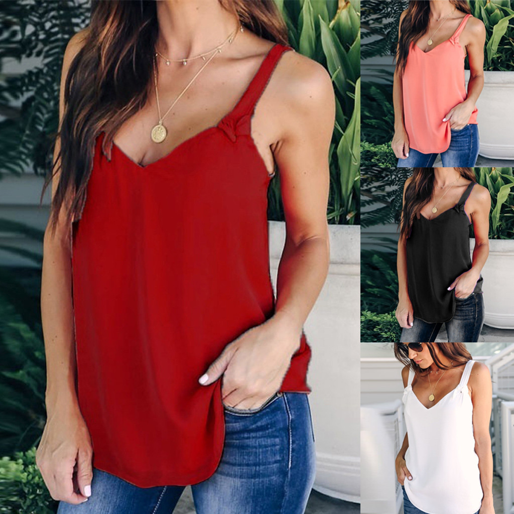 Women Casual Solid Red Sleeveless V-neck Strappy Tunic Vest Chiffon Camisoles Tank Tops Summer Girl Tanks Camisole Blusas Camisa