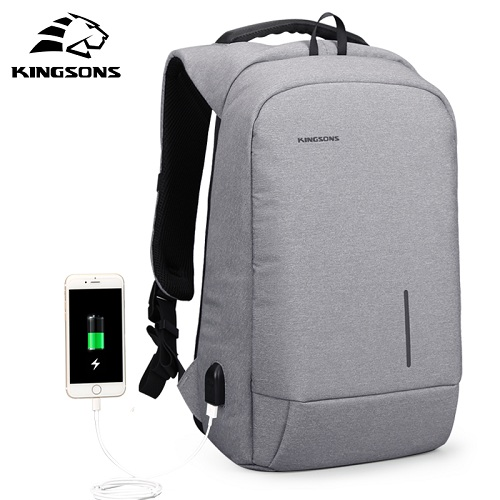 KingsonsArrival 15'' External USB Charging Laptop Backpacks School Backpack Bag Men Women Travel Bags light grey все цены