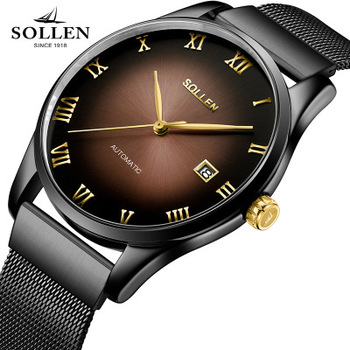 Top Brand SOLLEN business style automatic mechanical watches men Stainless Steel Watch with Calendar Clock Men Analog WristWatch Mechanical Watches