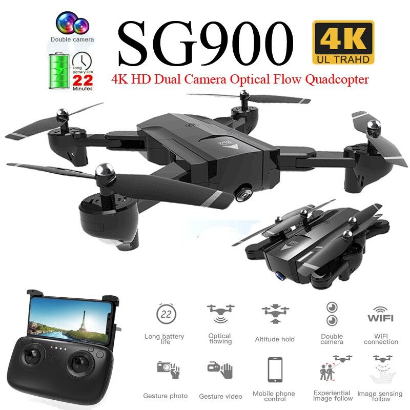 SG900 складной Профессиональный Дрон с двойной камерой 720P 4K селфи WiFi FPV широкоугольный оптический поток RC Квадрокоптер вертолет игрушки