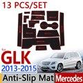 Para a Mercedes-benz GLK X204 2013 2014 2015 facelift Sulco Porta Copo Almofada de Borracha Anti-Slip Mat 13 pcs Acessórios Estilo do carro Adesivo