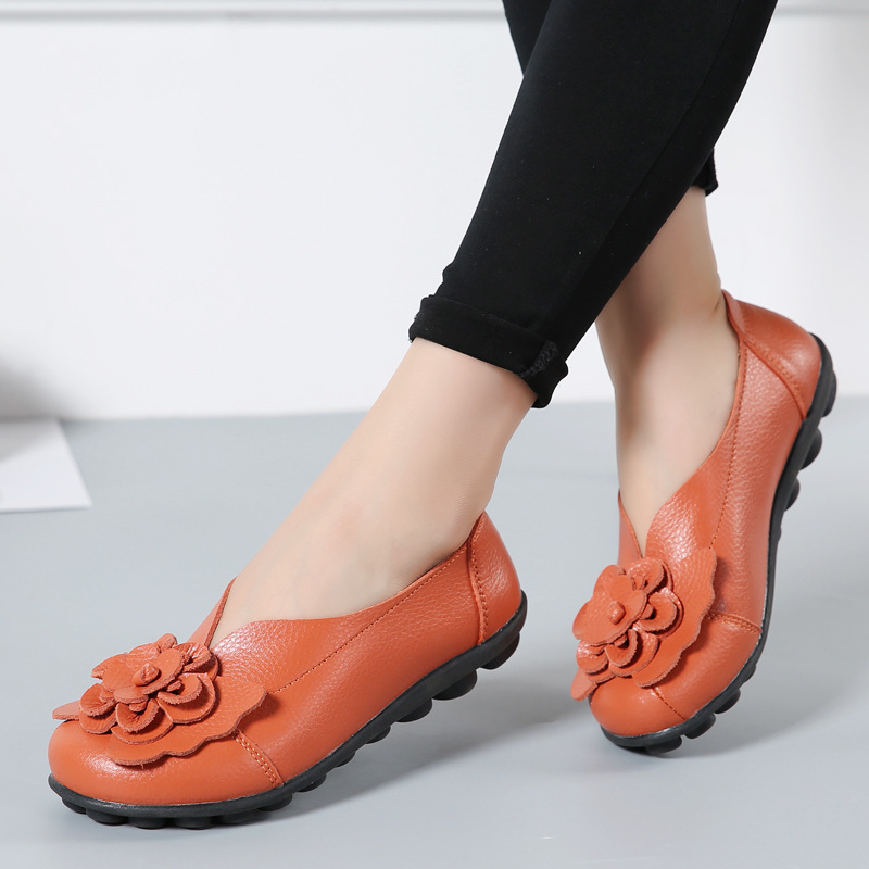 Women Real Leather Shoes Flower Moccasins Mother Loafers Soft Leisure Flats Casual Female Driving Ballet Footwear Women Shoes 4