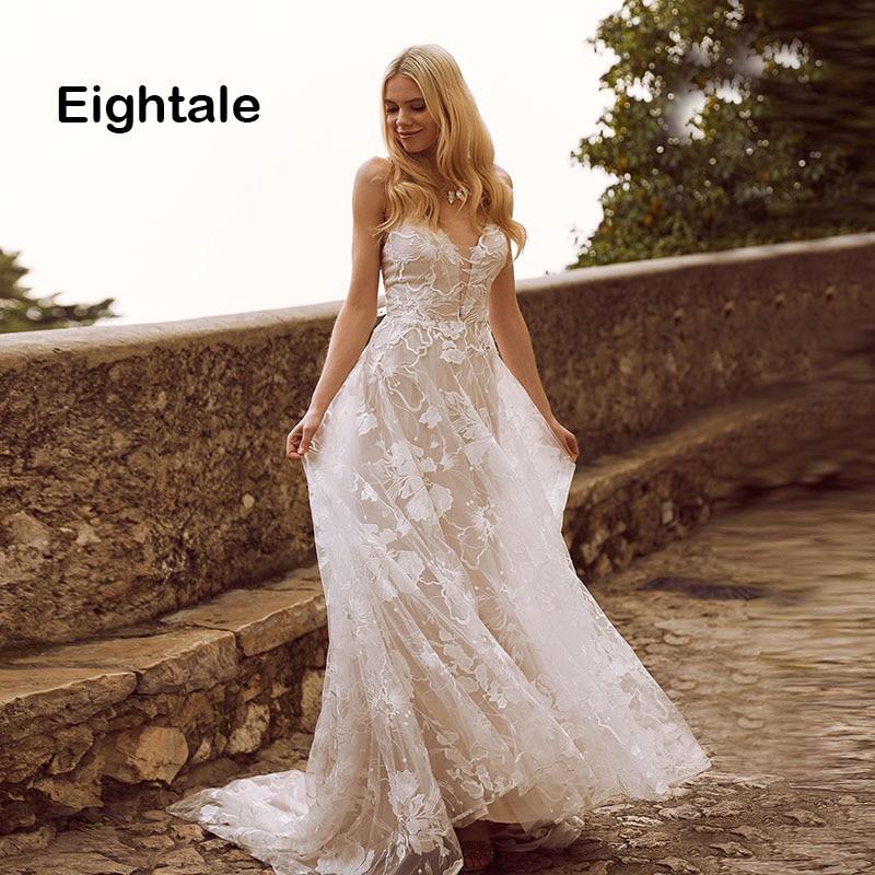 Eightale Bohemian Wedding Dresses Boho Spaghetti Strap Sexy A Line Beach Sweep Train Lace Wedding Gowns