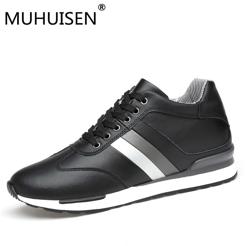 Genuine Leather Men Casual Leather Elevator Shoes Men Height Increase Shoes Footwear 2018
