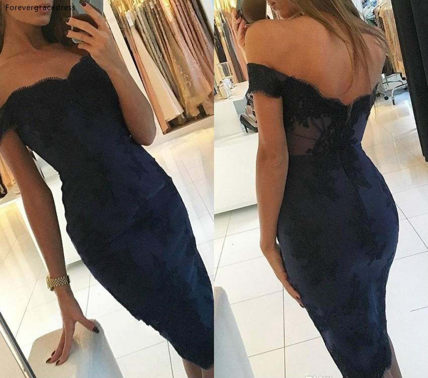 2019 Sexy Navy Blue   Cocktail     Dress   Arabic Dubai Style Knee Length Formal Club Wear Homecoming Prom Party Gown Plus Size