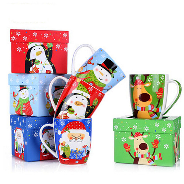 Top Grade Ceramic Christmas Mugs 440ml Deer Penguin Snowman Santa Claus Coffee mugs with Gift Box cute christmas mugs cups