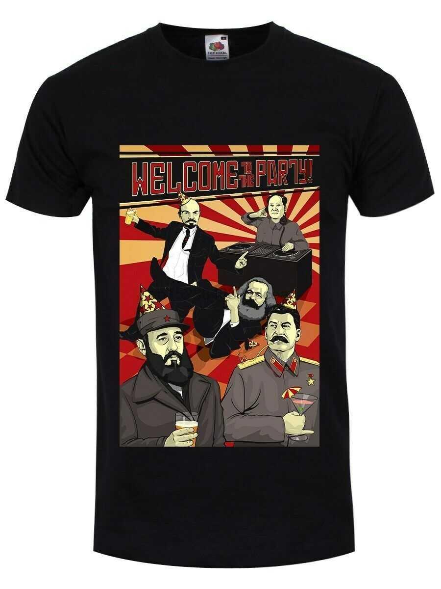 政治へようこそパーティーレーニンカールマルクスフィデルカストロおかしい黒人男性ファッション2019夏のヒップポップおかしい夏tシャツ