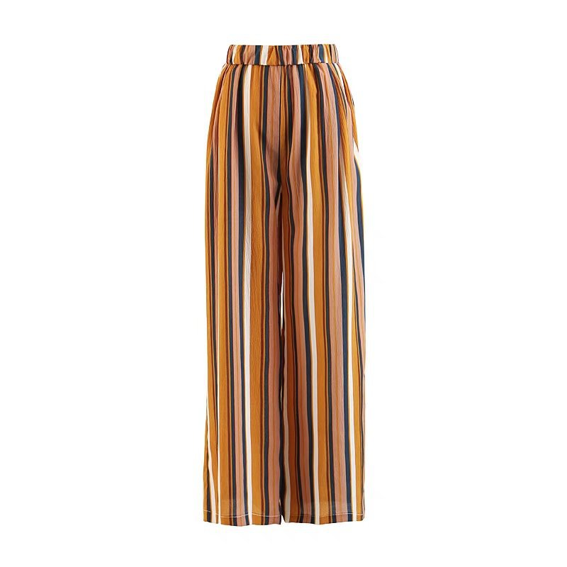 2019 Summer Women Colorful Striped Print Loose Trousers Fashion High Elastic Waist Full   Wide     Leg     Pants