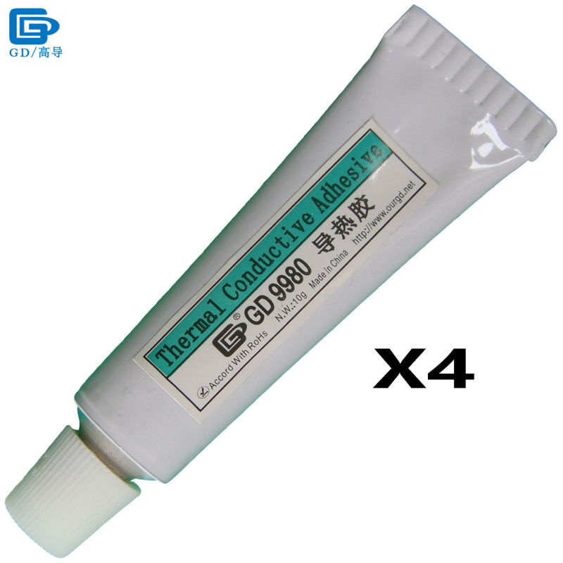 GD Brand Thermally Conductive Adhesive Glue GD9980 Heat Sink Plaster With Adhesive 4 Pieces White Net Weight 10 Grams ST10