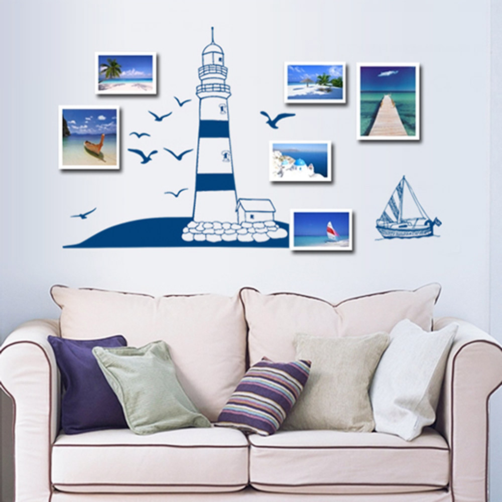 Online Shop DIY Baby Wall Stickers Blue Sailing Boat And Tower ...