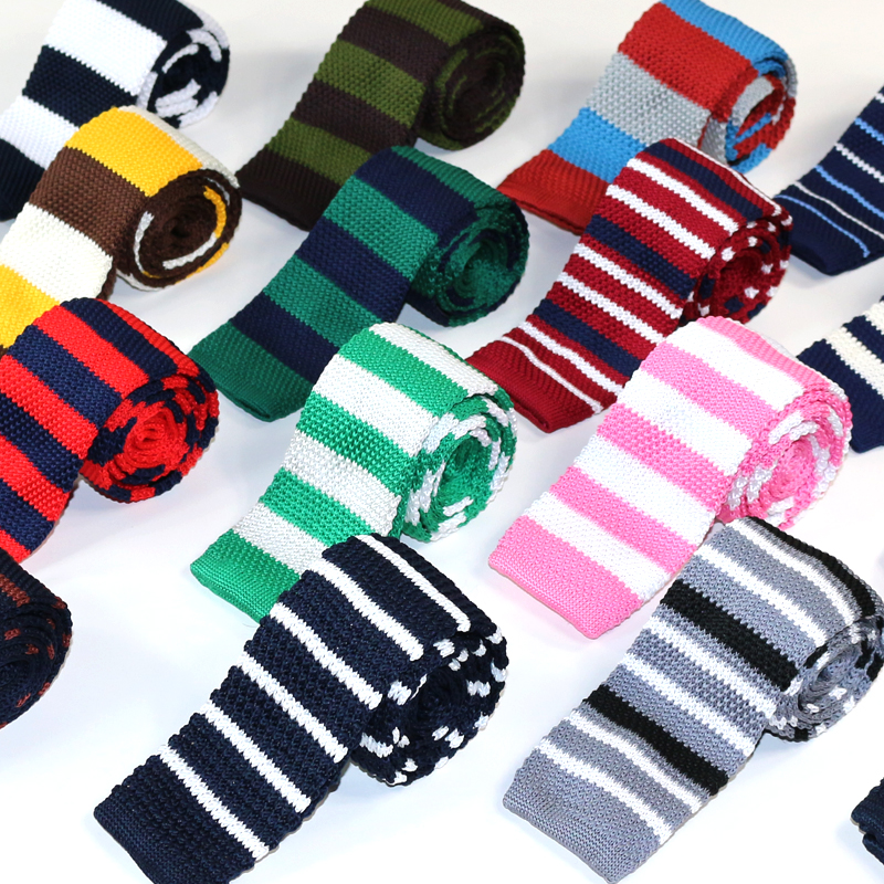 Mens Ties Polyester Knit Neckties For Men Brand Fashion Striped Knitted Neck Tie For Party Business