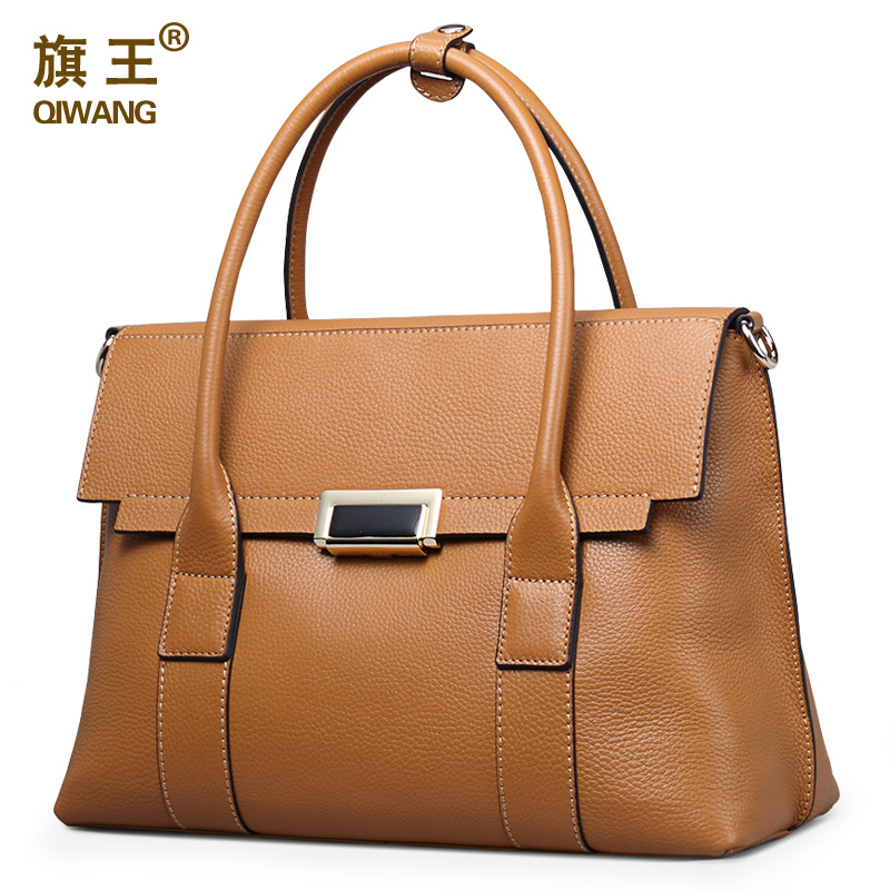 Qiwang Large Size Handbag Retro Bag Real Leather Brand Tote Bag Flap Closure Fas