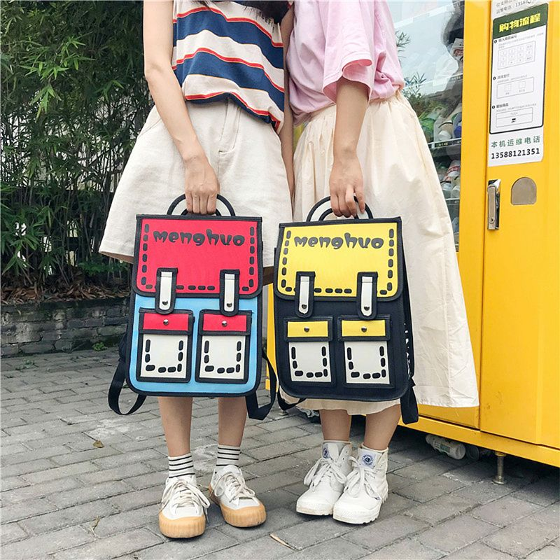 Fashion Backpack 3D Jump Style 2D Drawing Cartoon Paper Bag Comic Backpack Rucksack Bookbag New cartoon airplane style red