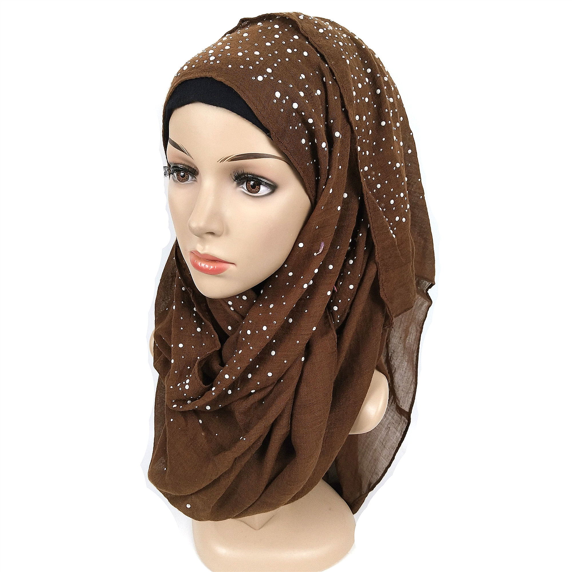 N3 High qualit plain Iyron beads scarf cotton scarves studs silver pearls scarves  headband wrap muslim scarves shawls 180*70cm