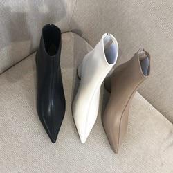 Женские ботильоны GPOKHDS, осенне-весенние ботинки из мягкой овчины на молнии с острым носком на высоком каблуке, размер 34-40, 2020