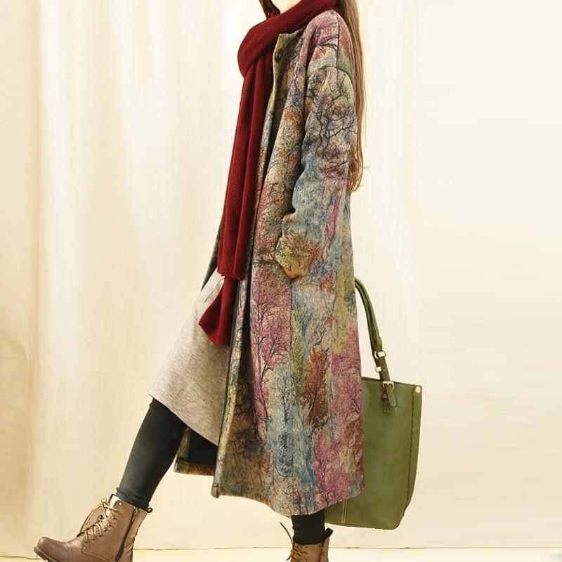 Impression Automne De Laine Vintage Vrac En Épais Hiver Harajuku Vestes green Longs Purple Veste Mori Manteau Femmes Fille Blue Grey Et BdnqdZ