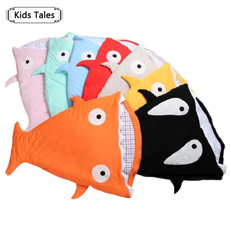 SR058 2018 Requin nouveau-né sac de couchage sac de couchage d'hiver poussette lit swaddle blanket wrap literie mignon bébé sac de couchage