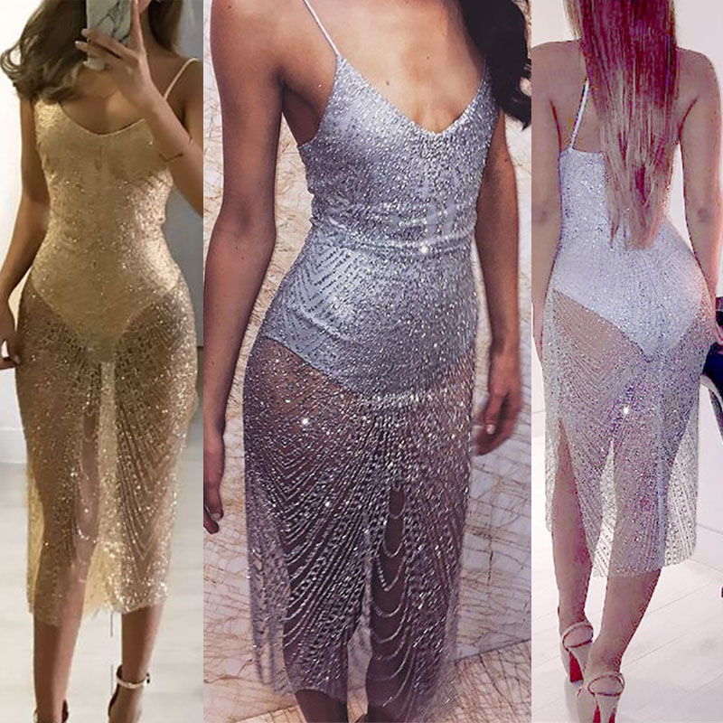 Sexy Sheer Glitter Silver Gold Sequin Dresses Women V Neck Side Split  Spaghetti Strap See Through Mesh Bodycon Exotic Dress -in Babydolls    Chemises from ... cc8e3755404c