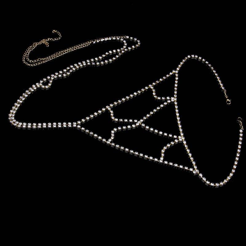 Stonefans Taklidi kadın göbek takısı Seksi Vücut Zinciri Şeffaf Iç Çamaşırı Külot Kristal Örgü Tanga Noel Takı