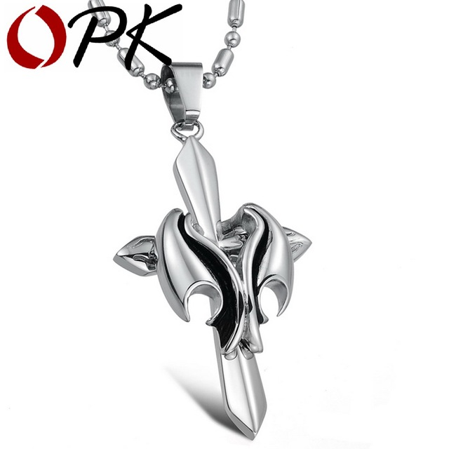 OPK JEWELRY wholesale cool men stainless steel cross pendant necklace 2016 brand new 569