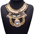 Xg246 богема металл стиль ожерелья и подвески супер-преувеличены большой кристалл себе ожерелье много - слои ювелирные изделия