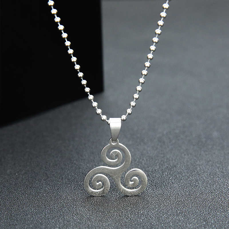 Simsimi keltic criple spiral men necklace jewelry triskel inspired necklace stainless steel Necklaces&Pendants for men gift
