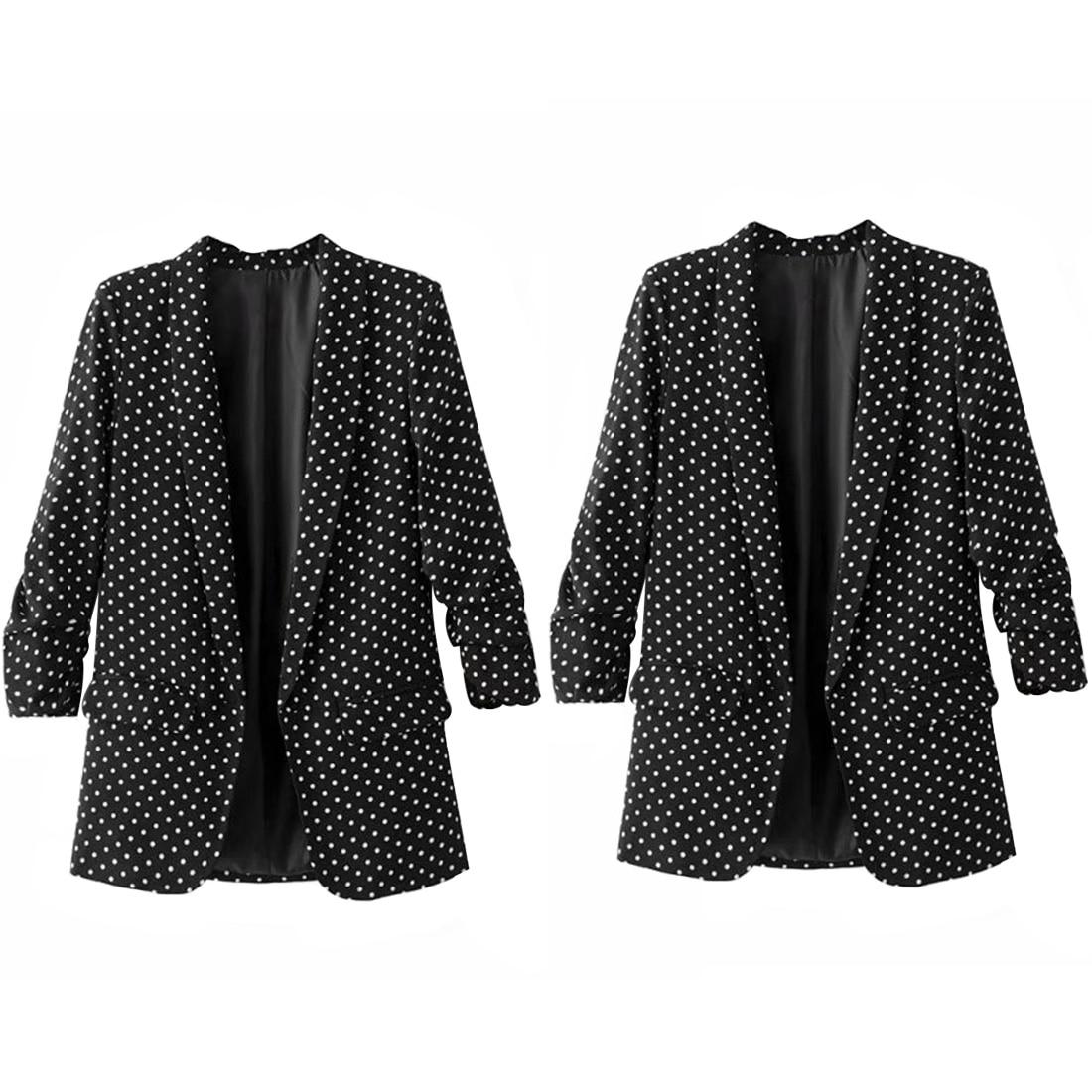 Comfortable Women Polka Dot Blazer Padded Shoulder Notched Collar Long Sleeve Coat Casual Outerwear Casaco Feminine Tops