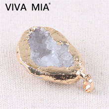White Druzy Quartz Agates Geode Crystal Necklace Natural Stone Irregular Gold Raw Agat Pendant