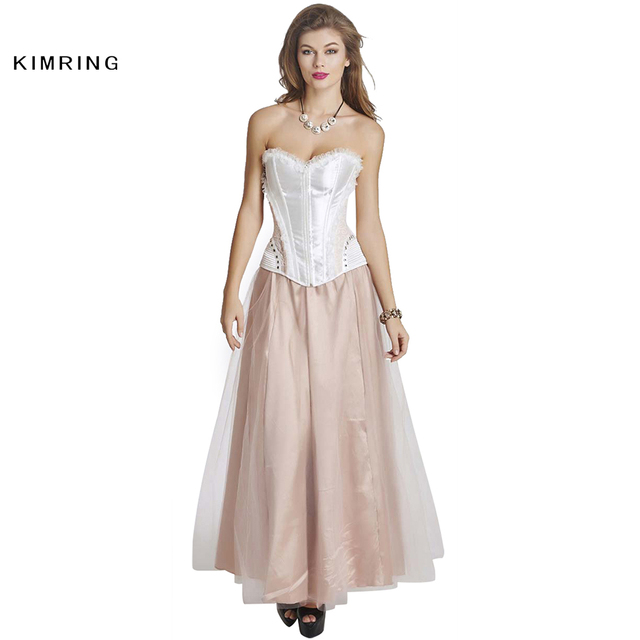 6ec9b2d16b Kimring Sexy Lace Corset Dress Fashion Gothic Burlesque Overbust Corset  with Skirt Waist Trainer Bustier Top Corset and Bustiers