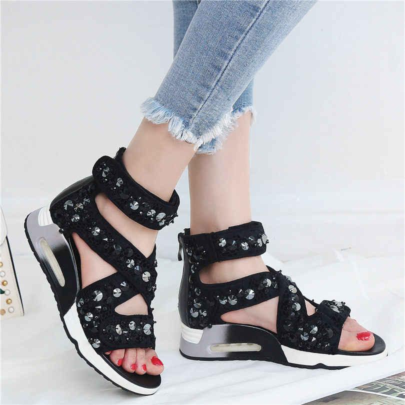 NAYIDUYUN mujeres negro cuero genuino cuñas plataforma romano gladiador sandalias de Punta abierta verano bombas Punk remaches Oxfords zapatos