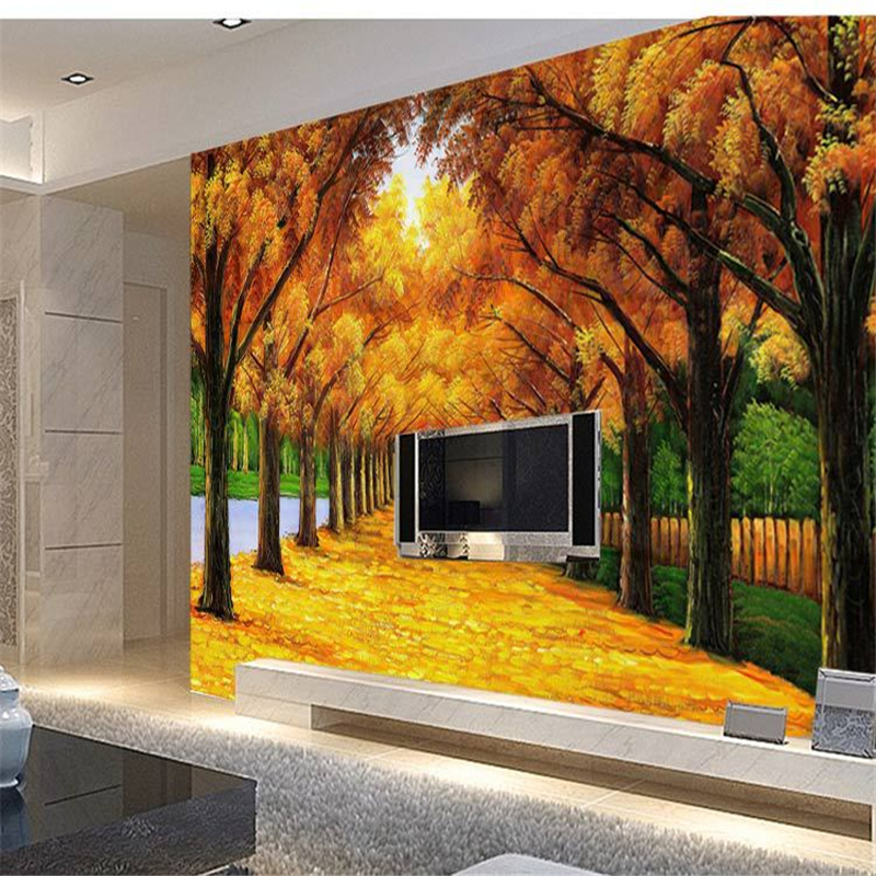 Beibehang wallpaper large 3d beijingqiang big tree tv for Tree wallpaper for walls