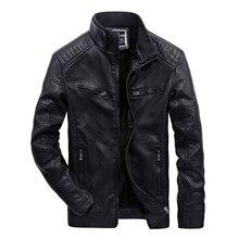 Фирменная Новинка для мужчин Кожаная куртка зимняя мода высокого качества на флисе PU Мужская мотоциклетная куртка курточка бомбер пальто плюс размеры 3XL BFYL608