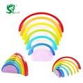 Bloques de construcción de juguetes de madera para niños 7 unids/lote colorido del arco iris círculo conjunto bebé oyuncak ordenar color play juego de juguetes de navidad