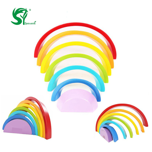 wooden toys for children 7pcslot colorful rainbow building blocks circle set baby colour sort - Colour For Children