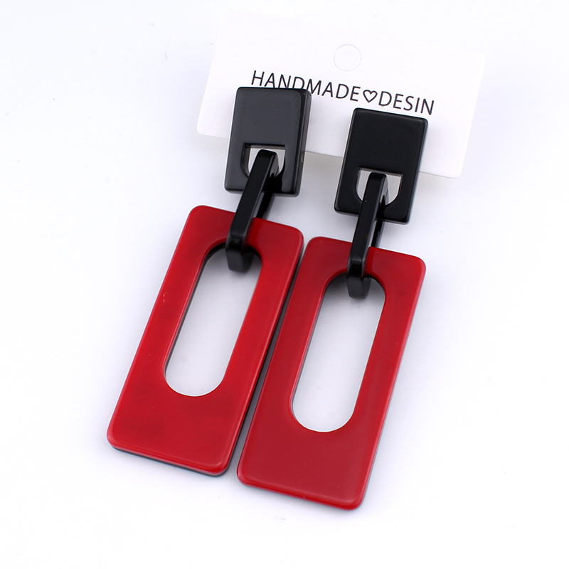 jiayijiaudo Interlocking geometric acrylic earrings red black buckle retro vintage new punk earring big drop women drop shipping