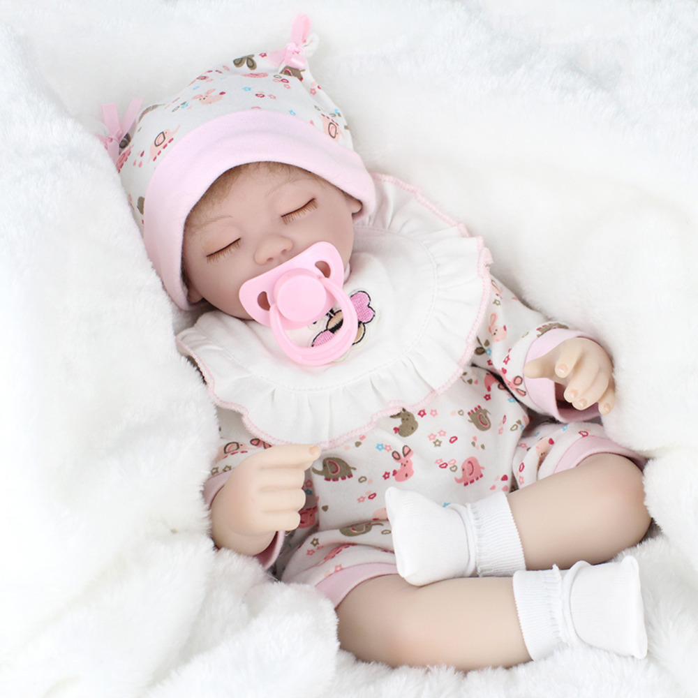 Simulation Realistic Reborn Baby Dolls Soft Silicone Eyes Closed Sleeping Girl Dolls Lifelike Newborn Doll Girls Gift Baby Toys