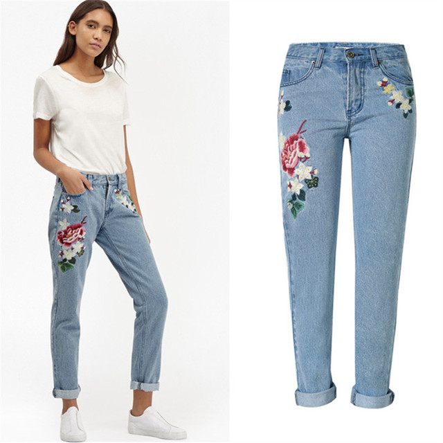 8bfe6c5e3 Plus Size Embroidered Jeans In Women's Pants Vintage Pockets High Waist  Straight Mom Jeans