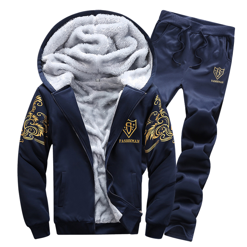 New Autumn Winter Warm Thick Velvet Solid Mens Tracksuit Soft Shell Tracksuit Plus Size Jacket+ Pants Sets