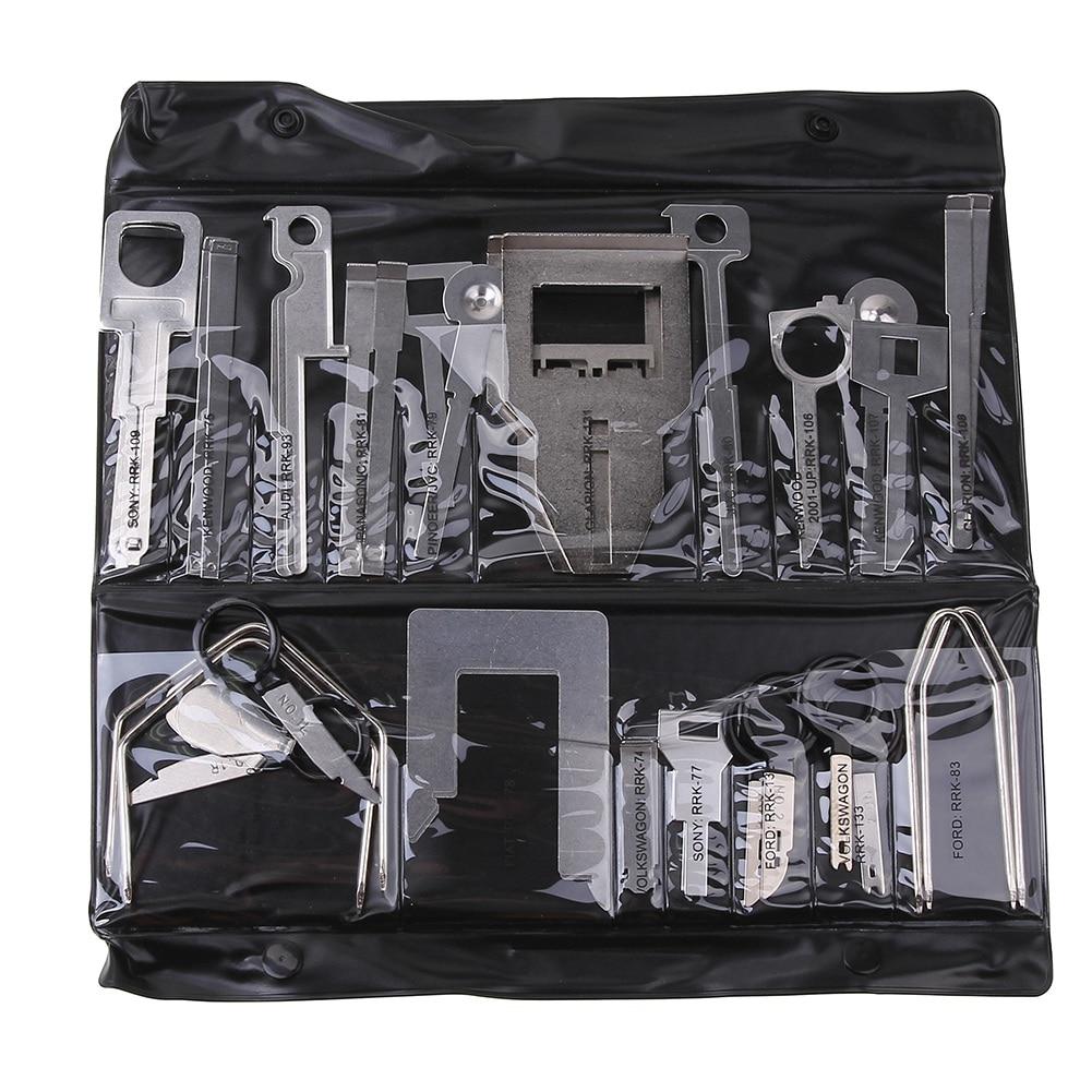 38 unids/set Kit de herramientas de eliminación de Radio estéreo para vehículo con bolsa herramienta Kenwood para Benz Ford Audi