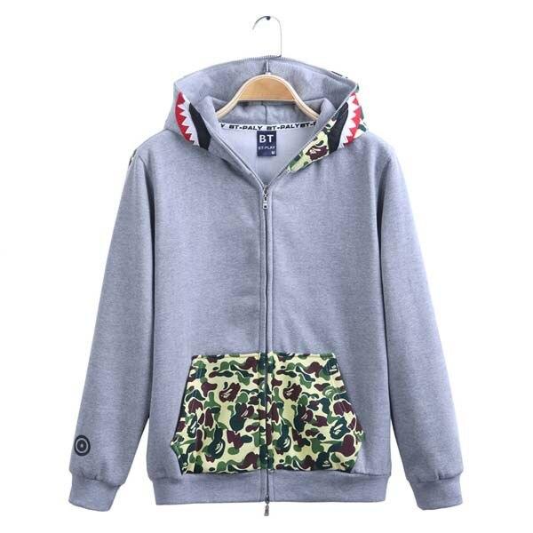 c6c48a5064f6 jaqueta masculina Brand bape shark hoodie men swag AAPE camouflage bape  jackets hip hop skateboard zip camo bape men sweatshirts-in Hoodies    Sweatshirts ...
