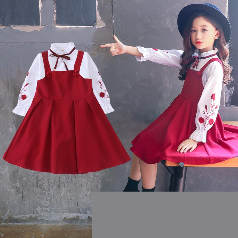 Girls Clothing Set Kids Clothes Suit Children Clothes 2019 Spring Girls Outfits 10 12 14 Years Blouses Shirts + Sleeveless DressGirls Clothing Set Kids Clothes Suit Children Clothes 2019 Spring Girls Outfits 10 12 14 Years Blouses Shirts + Sleeveless Dress
