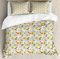 Фэнтези постельное белье Forest персонажи птицы Coala Листья Сова лисьего и кроличьего радостного существа мать природа 4 шт. Постельное белье
