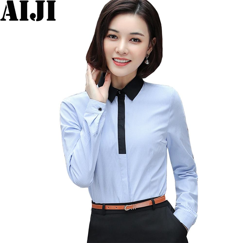 Women Blouse Office Shirt New Arrival Summer Autumn Long Sleeve Work Wear Korean Formal Tops Female Clothing White/blue Women's Clothing