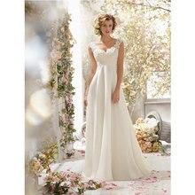 2017 New Stylish Women Sexy V Neck Backless Beaded Lace Pure White Chiffon Wedding Party Maxi Dress