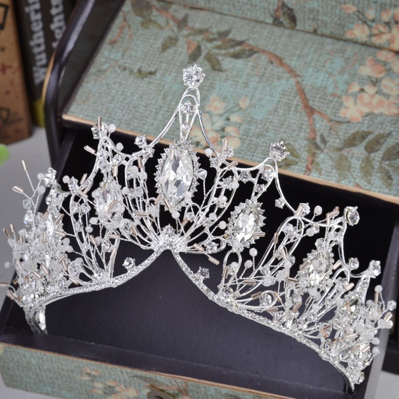 KMVEXO 2018 New Big Baroque Handmade Crystal Princess Crowns for Queen Rhinestone Tiaras Diadem Wedding Bridal Hair Accessories