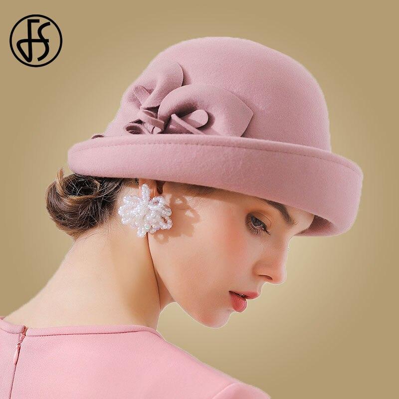 23f3ffe81dd Detail Feedback Questions about FS 2018 Elegant Wide Brim Fedora Hat For Women  Floral Wool Felt Ladies Bowler Black Vintage Autumn Winter Church Cloche  Hats ...