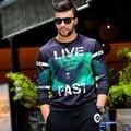 Fashion plus size  2016 autumn digital print casual pullover sweatshirt male Big yards fleece single male