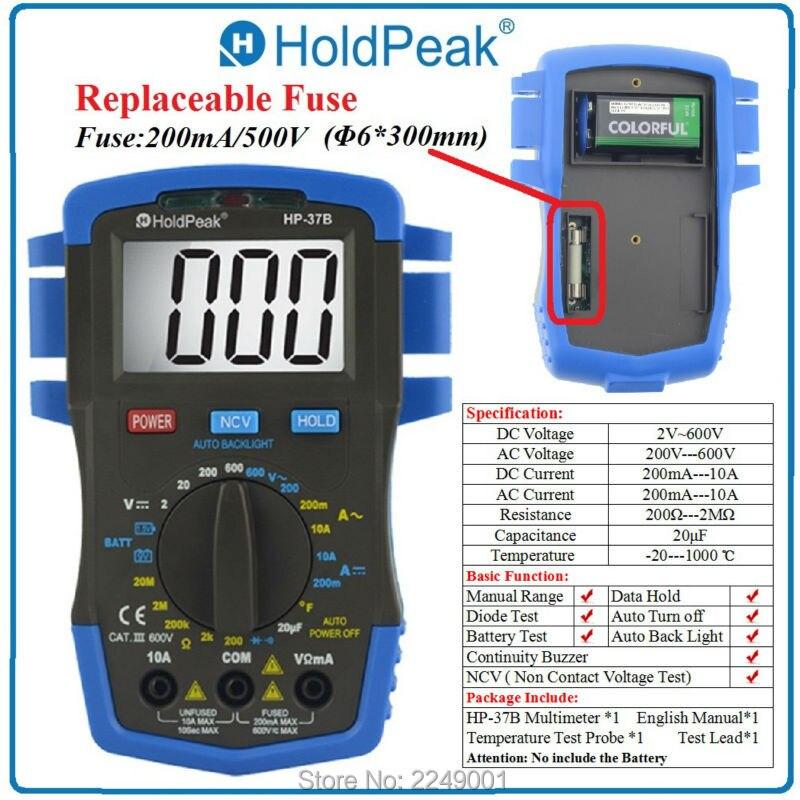 HoldPeak HP-37B Digital Multimeter Voltmeter Ohmmeter Ammeter Testeur Electrique mini multimeter holdpeak hp 36c ad dc manual range digital multimeter meter portable digital multimeter