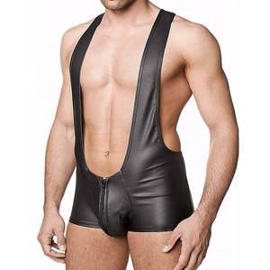 Mens Fetishwear wrestling singlet Stretchy Breathable sheathy Open Back Playsuit
