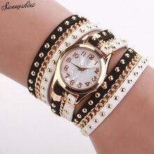 Wristwatch Fashion Women Faux Leather Crystal Rivet Braided Chain Quartz Watch Bracelet Watches Dress  Reloj Mujer Colck F3